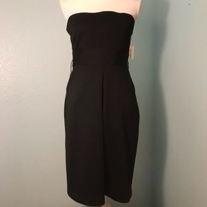 Kensie Strapless Little Black Dress w/ Front Pleat